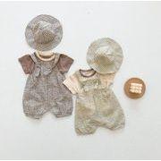 2021年 夏 新作 ★ 子供服ベビー服★ 格子 スカート ★Tシャツ★含帽子★ 3点セット