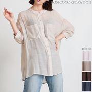 【2021新作商品♪】スラブシアー ノーカラー オーバーサイズシャツ