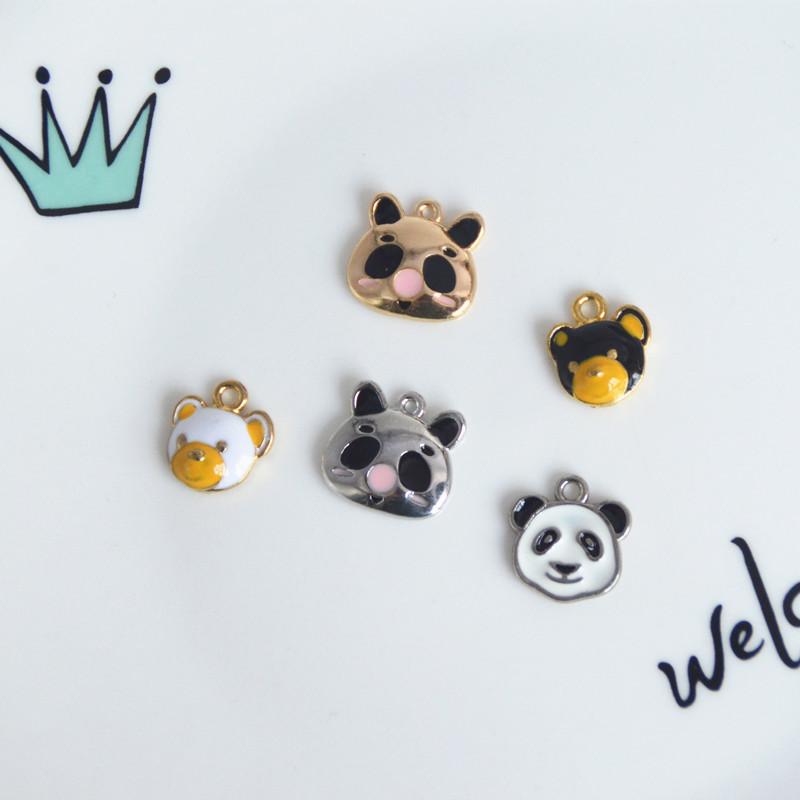 手芸パーツ 熊猫 白黒 熊 panda ペンダントトップ ハンドメイド アクセサリーパーツ ぷっくりパンダ 金属