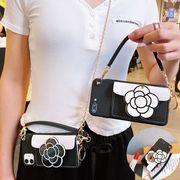 背面ポケット★iphone12promaxケース カメリア 鏡 スタンド機能 カード収納