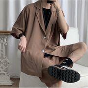 メンズ セットアップ ゆったり シンプル 韓国 トップス 半袖 ズボン セット商品 シャツ