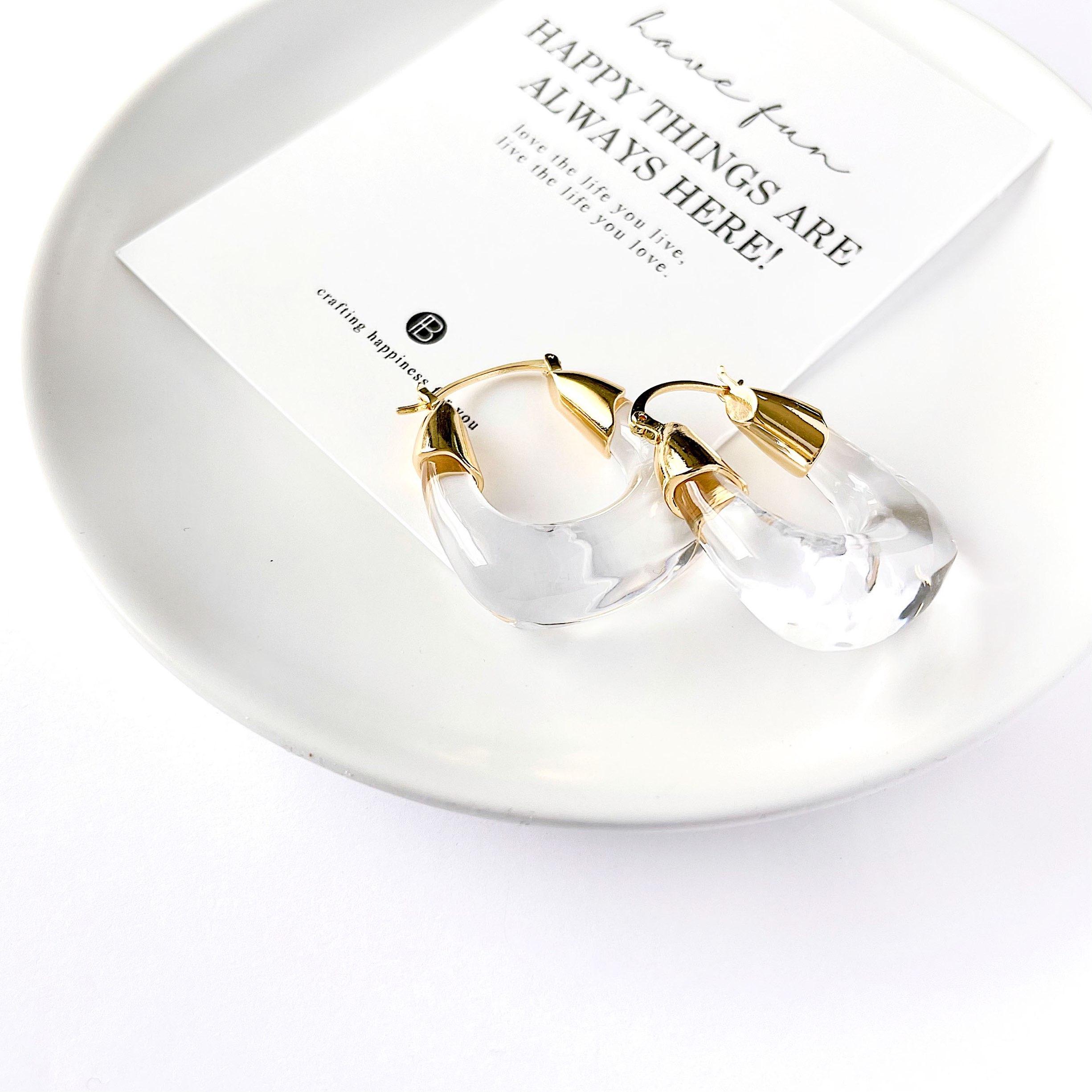 【国内即納】大振りクリアフープピアス デザイン メタル ゴールド 夏 樹脂 トレンド アクセサリー パーツ