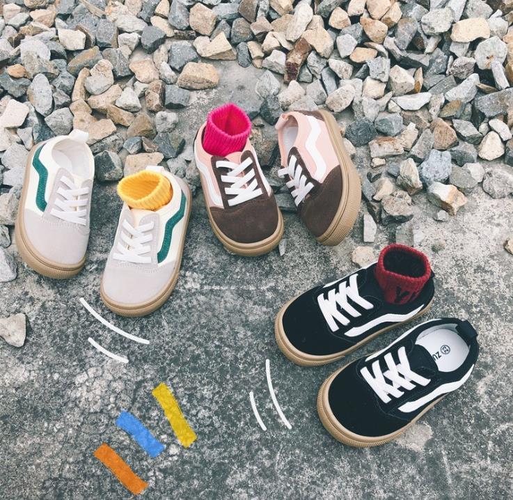 【KID】韓国風子供服 ベビー服  キャンバスシューズ 靴下 スプライス ベルクロ おしゃれ ins