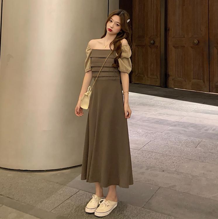 高級品質 パフスリーブ ワンピース 夏 スリム効果 フェイク マキシ 韓国ファッション レディース
