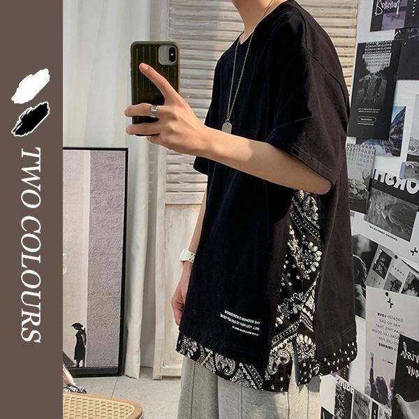 メンズ 半袖Tシャツ カジュアル 渋谷風 男女兼用 大きいサイズ ストリート系★ブラック ホワイト