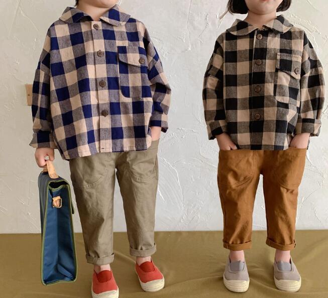 通気性よい 柔らかい 子供服 キッズシャツ チェック 格子 秋 綿 長袖 ファッション カジュアル系