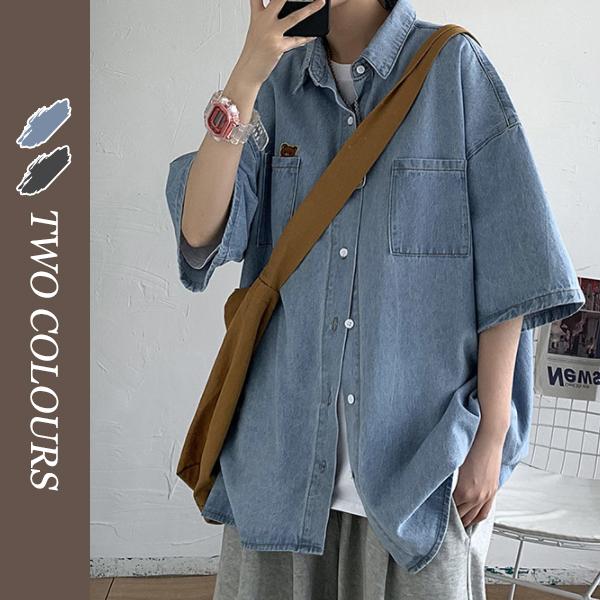 メンズ 半袖シャツ デニムシャツ デニムジャケット 夏服 カジュアル 男女兼用 ストリート系
