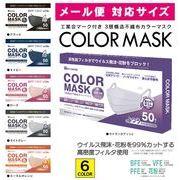 メール便対応サイズ COLOR MASK 99%カット カラー不織布マスク ふつうサイズ 50枚入 紐 同色