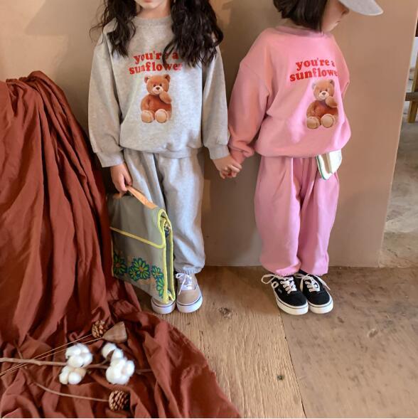 秋 2点セット ブラウス+パンツ 女の子 男の子 熊セットアップ 子供服 キッズ  韓国ファッション