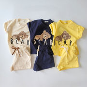 2021年夏新作 子供服 キッズ ベビー服 韓国風 シャツ+ズボン 2点セット プリント 3色73-100
