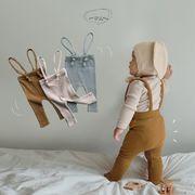 2021年夏新作 子供服 キッズ ベビー服 韓国風 サロペット パンツ ニット かわいい 3色66-90
