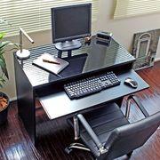 パソコンデスク 90cm幅 ブラック 鏡面仕上 日本製 スライドテーブル付
