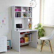 パソコンデスク 83幅 書棚付き ホワイト 学習机 書斎机