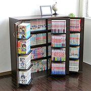 【9/下】DVDラック ダークブラウン 最大400収納 日本製 CD・コミック本ストッカー収納