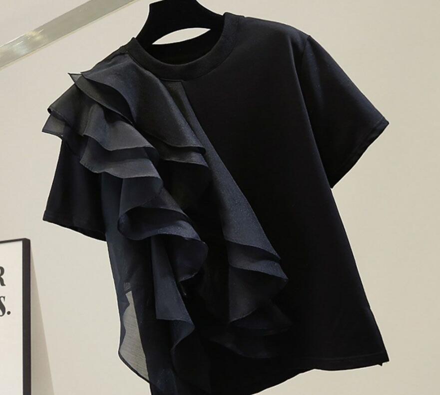 2021年夏新作 レディース 韓国風 シャツ デザインあり 半袖 おしゃれ 優しい フリー