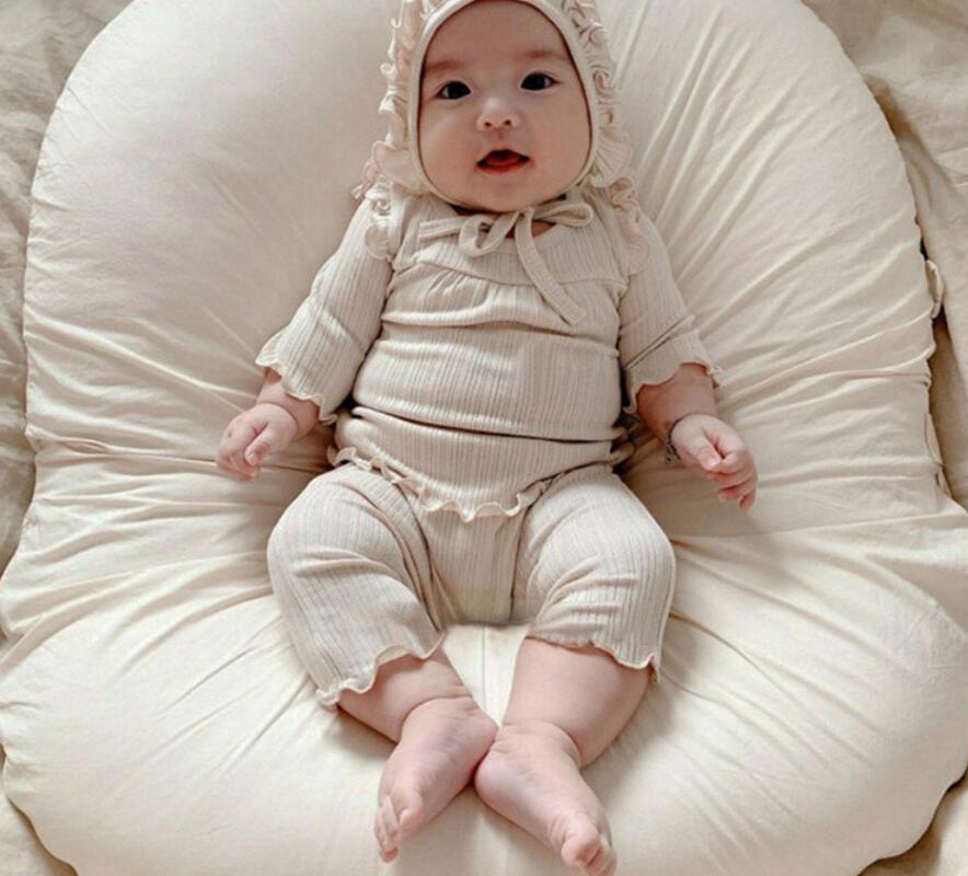 2021年秋冬新作 子供服 キッズ ベビー服 韓国風 シャツ+パンツ 2点セット 部屋着 4色66-90