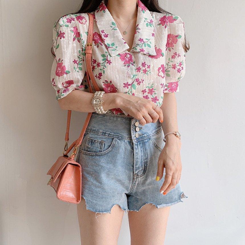 ブラウス レディース 夏 花柄トップス シフォンブラウス 半袖 シャツ プリント ゆったり 体型カバー