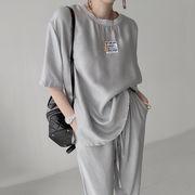【2021INS 新作】スウィート レディース カジュアル 韓国風 シンプル半袖Tシャツ+パンツ セット