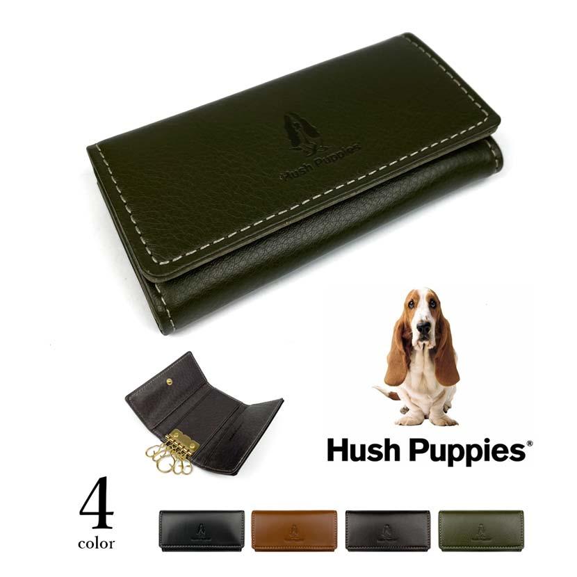 全4色 Hush Puppies ハッシュパピー リアルレザー キーケース 三つ折りキーホルダー