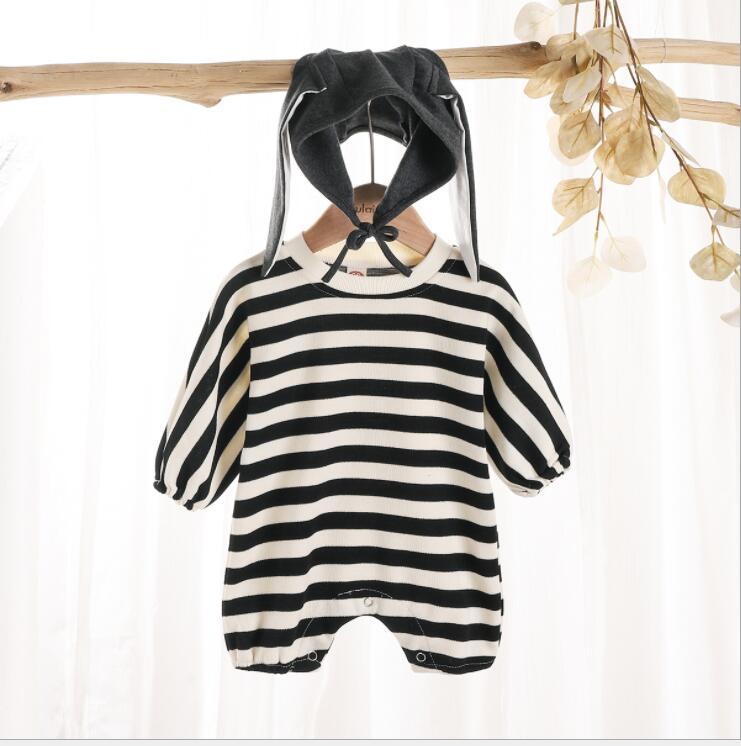 子供服 ロンパース 幼児 新生児 秋 かわいい ボーダー柄 帽子付き カジュアル トレンド おしゃれ