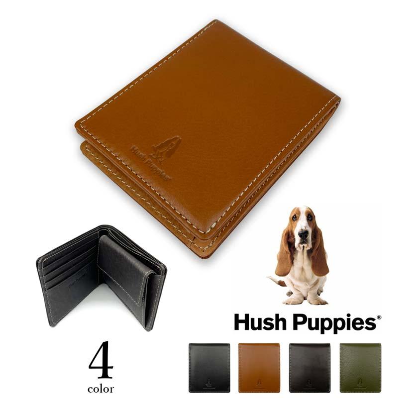 全4色 Hush Puppies ハッシュパピー リアルレザー バイカラー 二つ折り財布 ショートウォレット