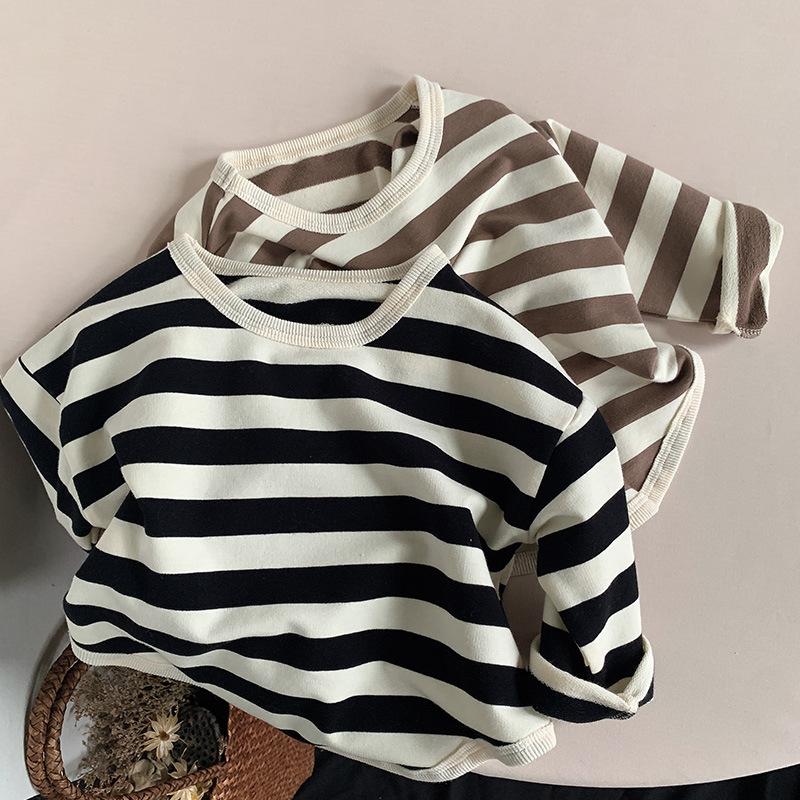 韓国風子供服 韓国ファッション 可愛い 長袖Tシャツ ストライプカジュアルトップ