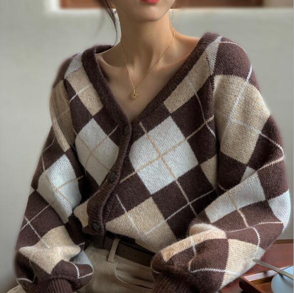 秋冬 レディース ニット 菱形セーター チェックブラウス アウター2色 コート カーディガン