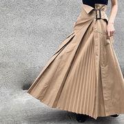 【Women】2021年春夏新作  韓国風レディース服  スカート プリーツ ベルト