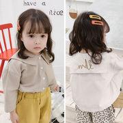 2021秋新作 子供服 キッズ 韓国風  刺繍 長袖 シャツ 女の子  2色80-130
