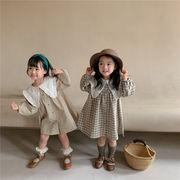 韓国風子供服 韓国ファッション 可愛い  薄いワンピース 秋服 綿麻折り襟
