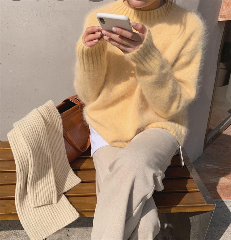 デイリーに使える ファッション ピュアカラー ニットトップス エレガント セーター