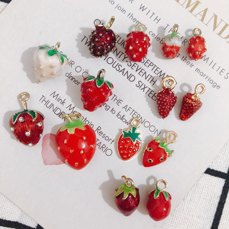 エポチャーム 立体イチゴ いちご カラー フルーツ 果物 メタルパーツ アクセサリーパーツ カン付き 金属