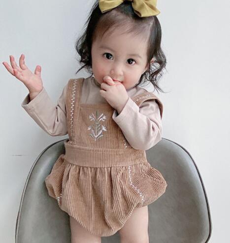 子供服 トップス ロンパース シャツ 秋 新作 キッズ 子ども かわいい 刺繍 トレンド おしゃれ