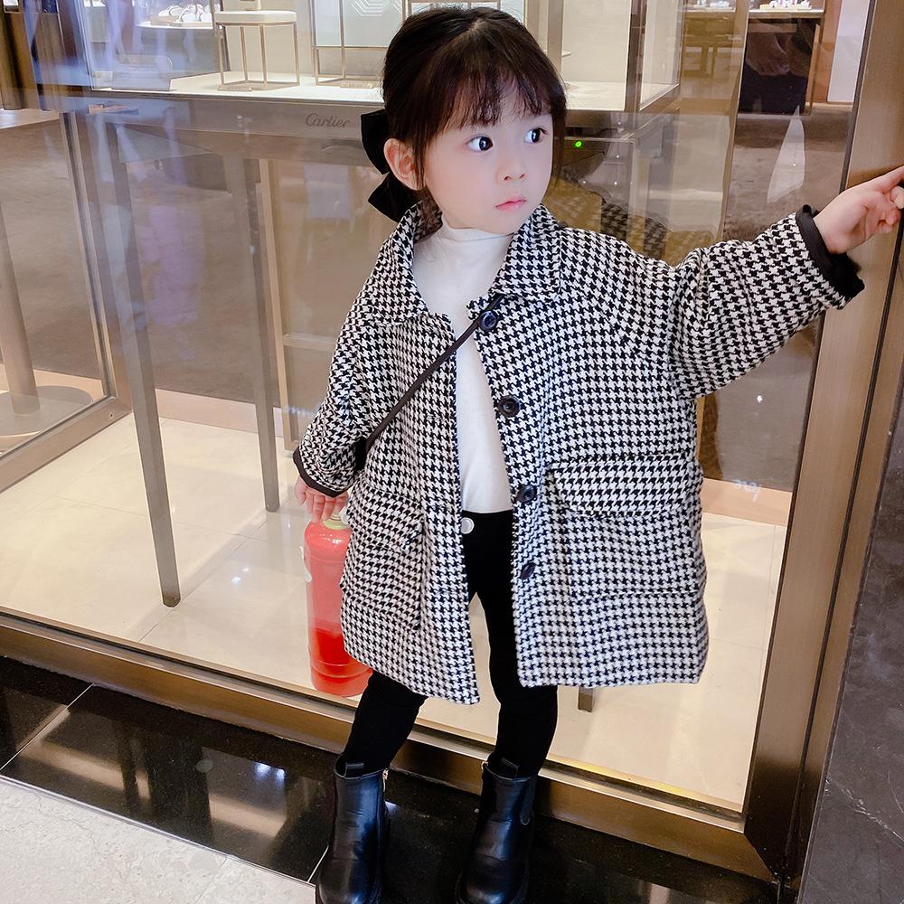【KID】韓国風子供服 ベビー服  おしゃれ 長袖 コート トップス 千鳥柄
