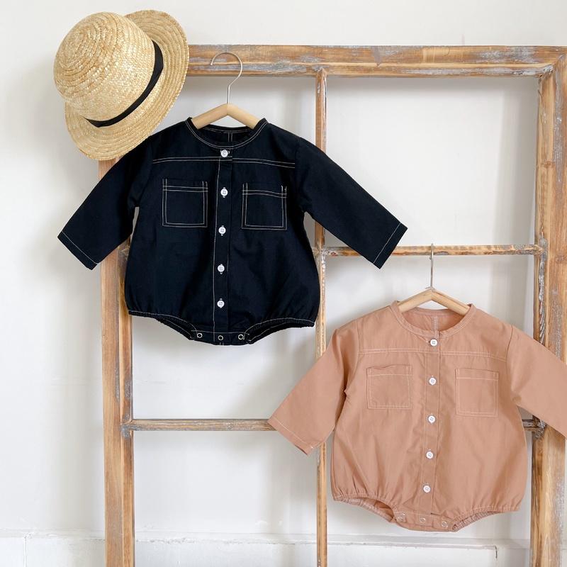【KID】韓国風子供服 ベビー服 男女兼用 長袖 ロンパース ポケット付き