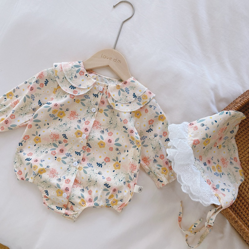 【KID】韓国風子供服 ベビー服  花柄 ロンパース 長袖 帽子付き