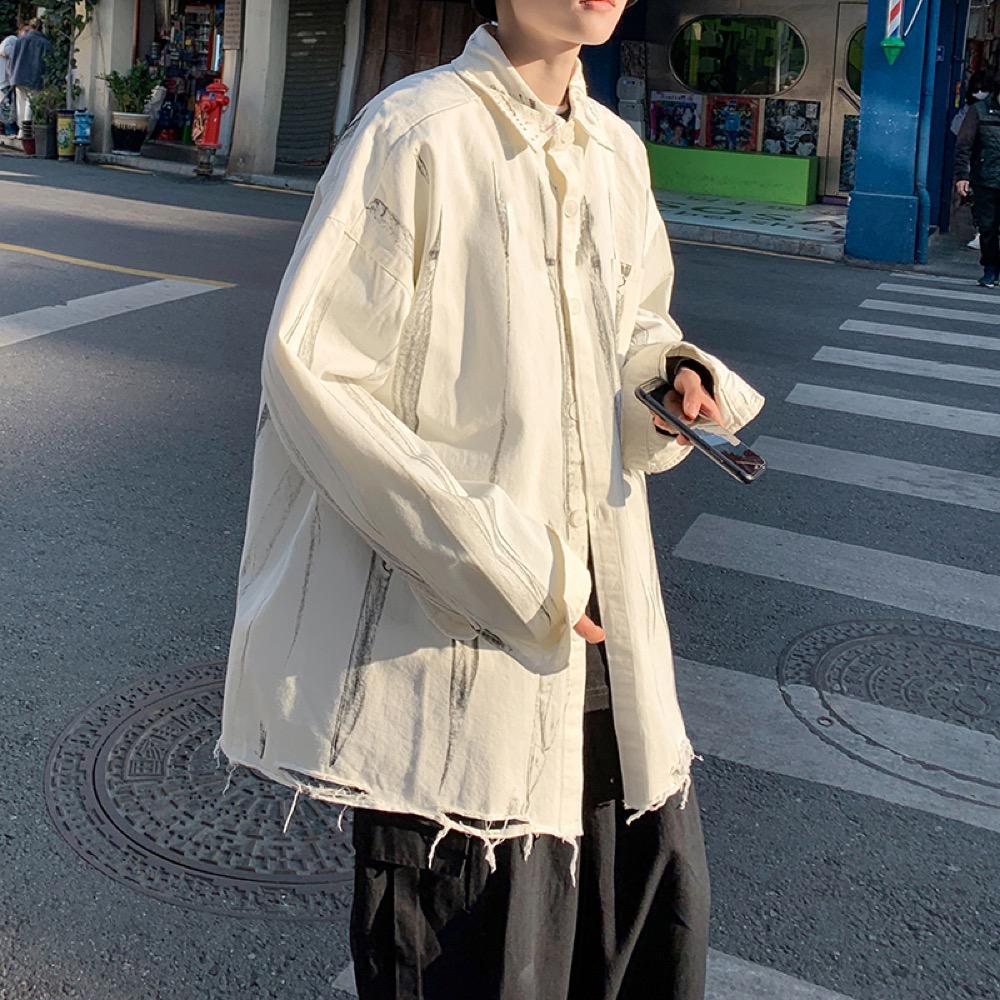 トップス シャツ 長袖 アウター ジャケット リラックス 春夏新作 ゆったり メンズ 韓国ファッション