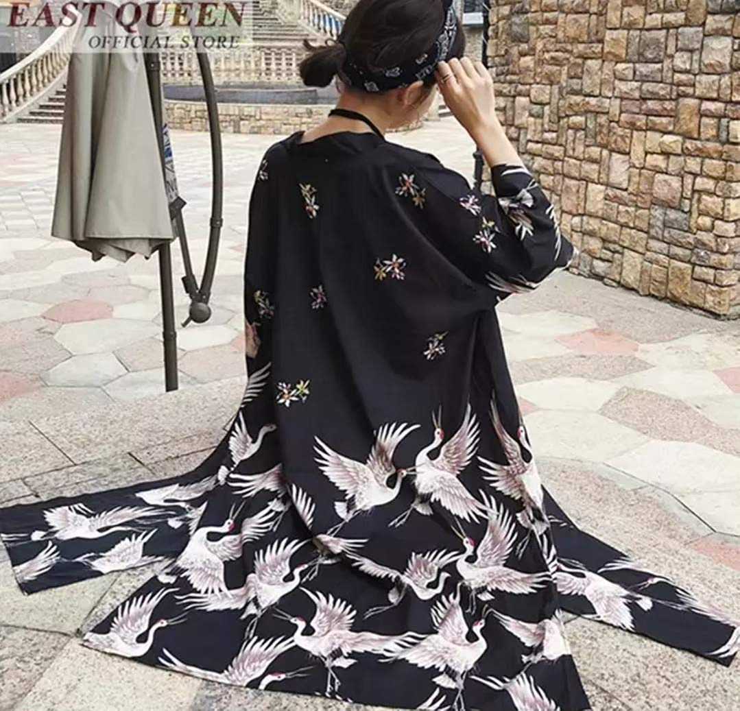 ロング 鶴 送料無料 法被 着物 ローブ 羽織り コスチューム コスプレ衣装 ダンス衣装 和柄