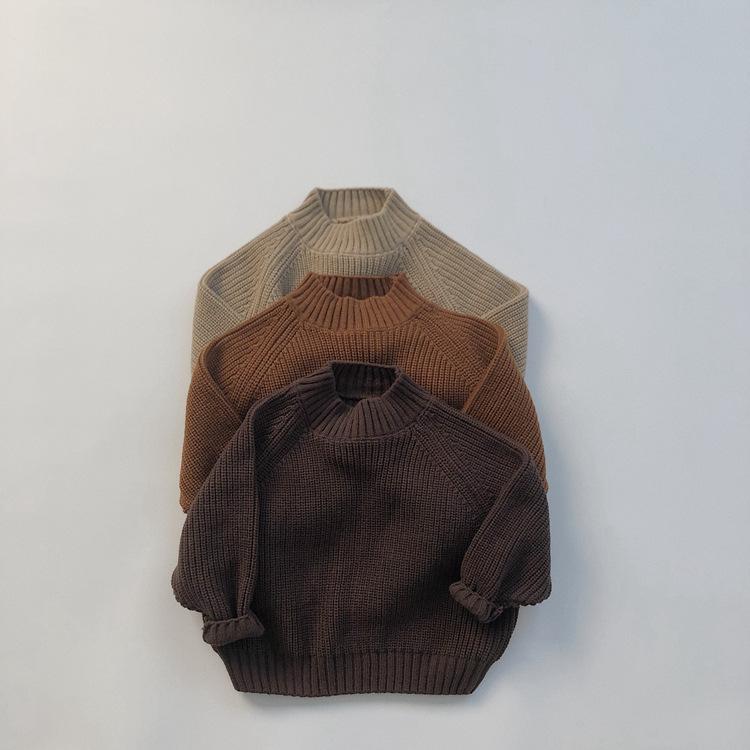 全3色「80−130号」女の子男の子 長袖 ニットトップス セーター 毛糸 トップス 秋冬 キッズ 子供服