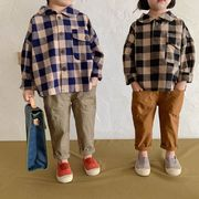 韓国子供服 長袖シャツ tシャツ シンプル 男女兼用 可愛い 秋服 チェック柄シャツ