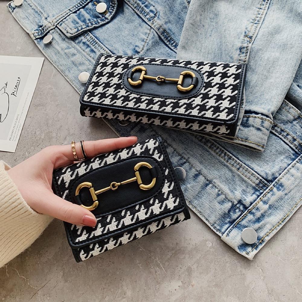 財布 折り財布 コインケース カードケース 三つ折り財布 千鳥格子 レディース財布