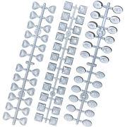 ネイル カボション 48個 カラーチャーカラーチャー トプラスチック製 ハート オーバル 四角 色見本