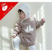 2021秋冬新作 全2色 韓国子供服 長袖ロンパース 女の子 男の子 可愛い アルパカ キッズ ベビー 赤ちゃん