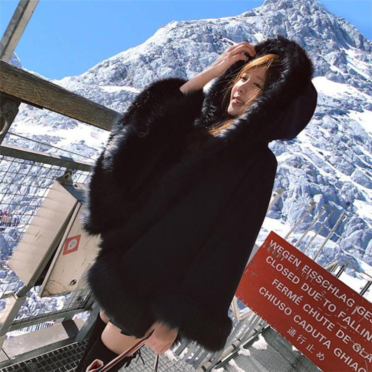 通勤する 2021 キツネの毛皮 毛皮 冬 コート ゆったりする ドルマンスリーブ フード付き ポンチョ