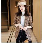 気質★チェックスーツ  コート  女性 秋 韓版チェック柄ネット  赤いスーツ短め カジュアルなスーツ  上着
