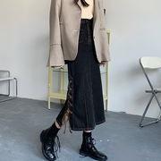 レトロパック スカート 秋冬 女 新しいデザイン 設計感 ハイウエスト 着やせ 中長スタ