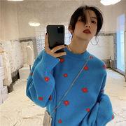 2021年秋冬 レーディス服 韓国風ファッション セータ 暖かい 花柄
