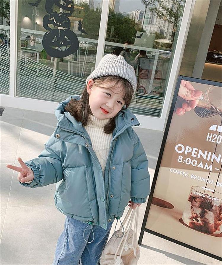 スタイルアップ効果も 韓国ファッション ダウンジャケット 厚手 子供 暖かい 綿服  コート シンプル